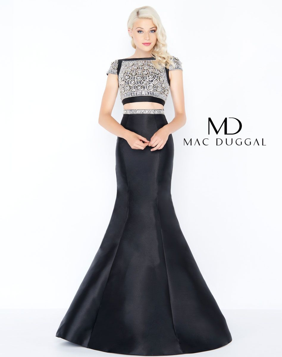 1b2baa4f4c Absolutely stunning two-piece mikado with beaded crop top accent with cap  sleeve. The