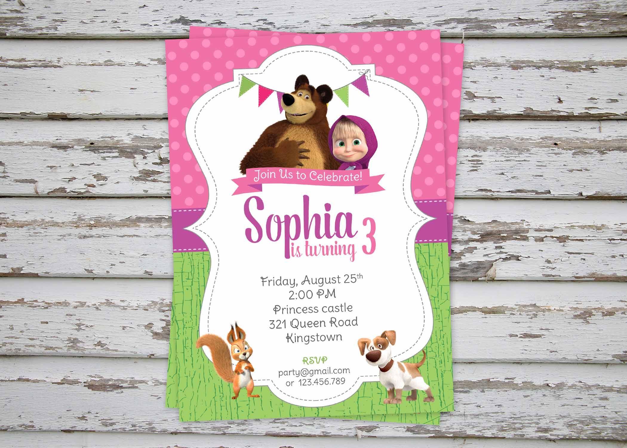 Masha And The Bear Birthday Party Invitation Printable