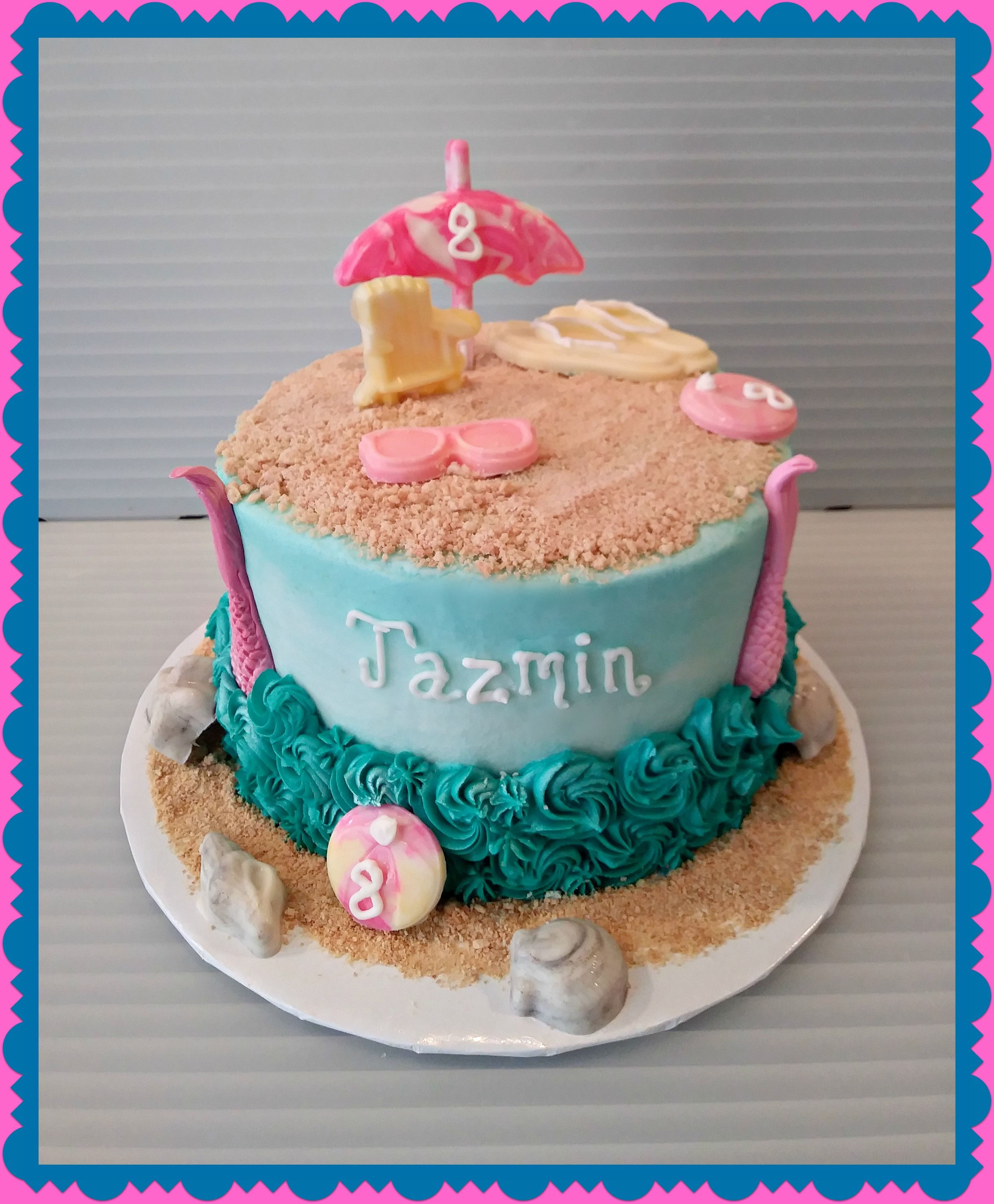 Beach Themed Cake With Chocolate Accents Beach Themed Cakes