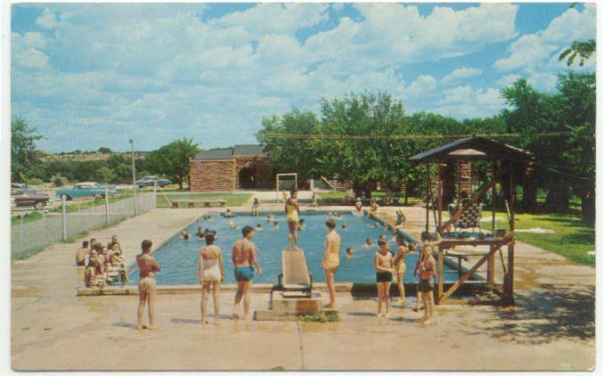 Abilene State Park At Buffalo Gap Tx Swimming Pool Vintage Postcard Texas State Parks Vintage Postcard Abilene