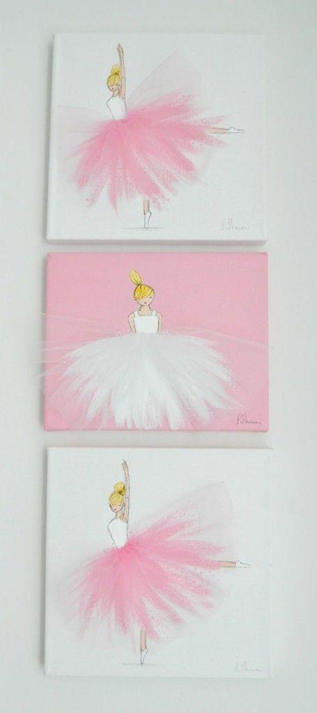 Bilder für kinderzimmer auf leinwand selber malen mädchen  diy leinwand druck tanzen mädchen rosa rock | kinder | Pinterest ...
