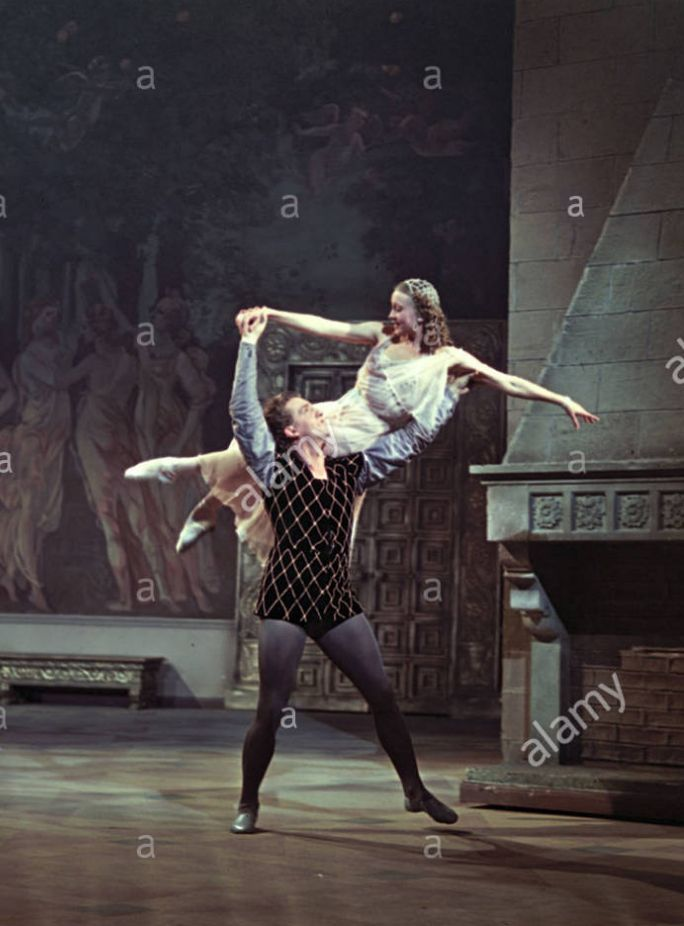 Stock Photo - A scene from Sergei Prokofiev s ballet Romeo and Juliet with People s Artist of the U S S R Galina Ulanova as Joliet and People