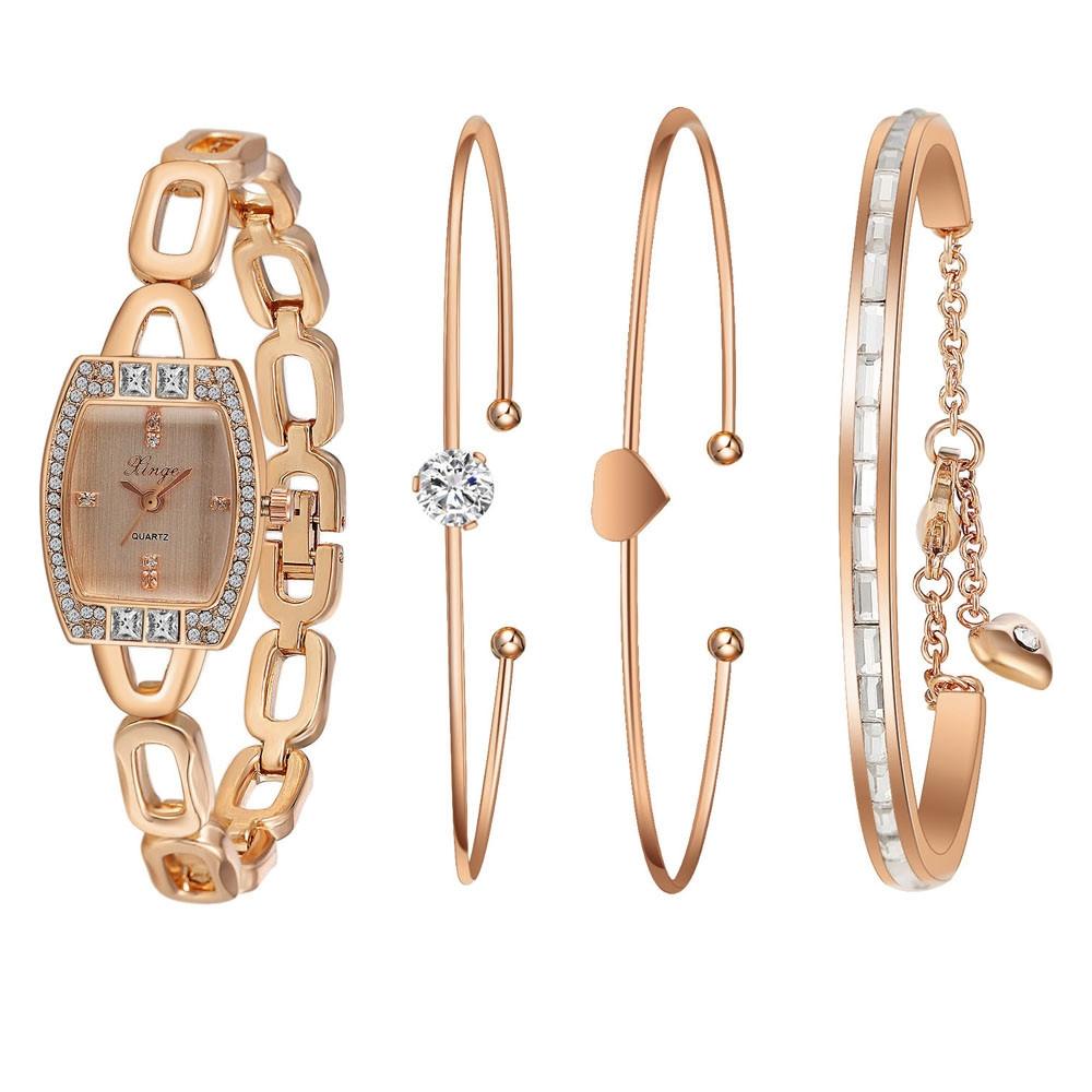 59.74$  Watch now - http://alitzz.shopchina.info/go.php?t=32638868644 - Watch Women Famous brand watches Gold Rhinestone Love Bangle Watch And Bracelet Set 592R Feida  #bestbuy