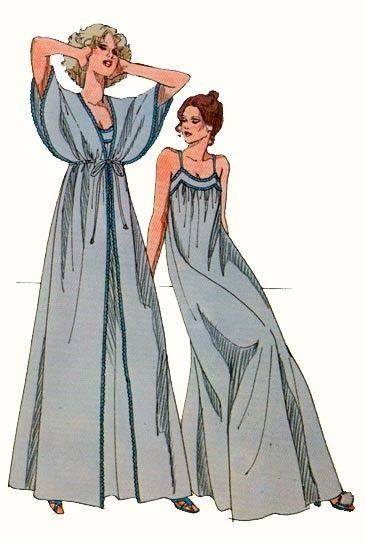 Vintage Kwik Sew 876 Ladies Nightgown And Peignoir Sewing Pattern Sm