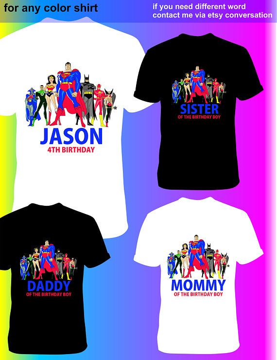 FAMILY SET OF 4 Justice League Iron On Transfer Paw Patrol Daddy Printable Shirt Design Instant Download