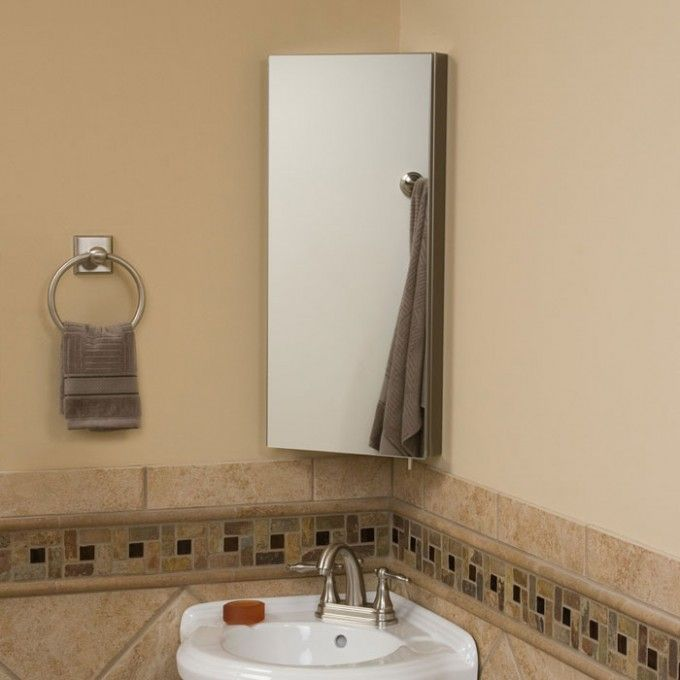 Crosstown Stainless Steel Corner Medicine Cabinet With Mirror