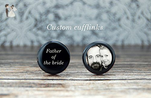 Father of the bride , wedding gift for dad , photo cuff links - Groom cufflinks and tie clips (*Amazon Partner-Link)