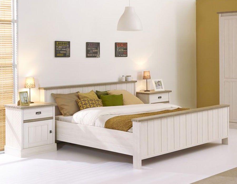 Lit adulte contemporain couleur chêne blanc JEANNE غرف النوم