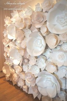paper flower wall   Event Ideas   Pinterest   Flower and Fabric ...