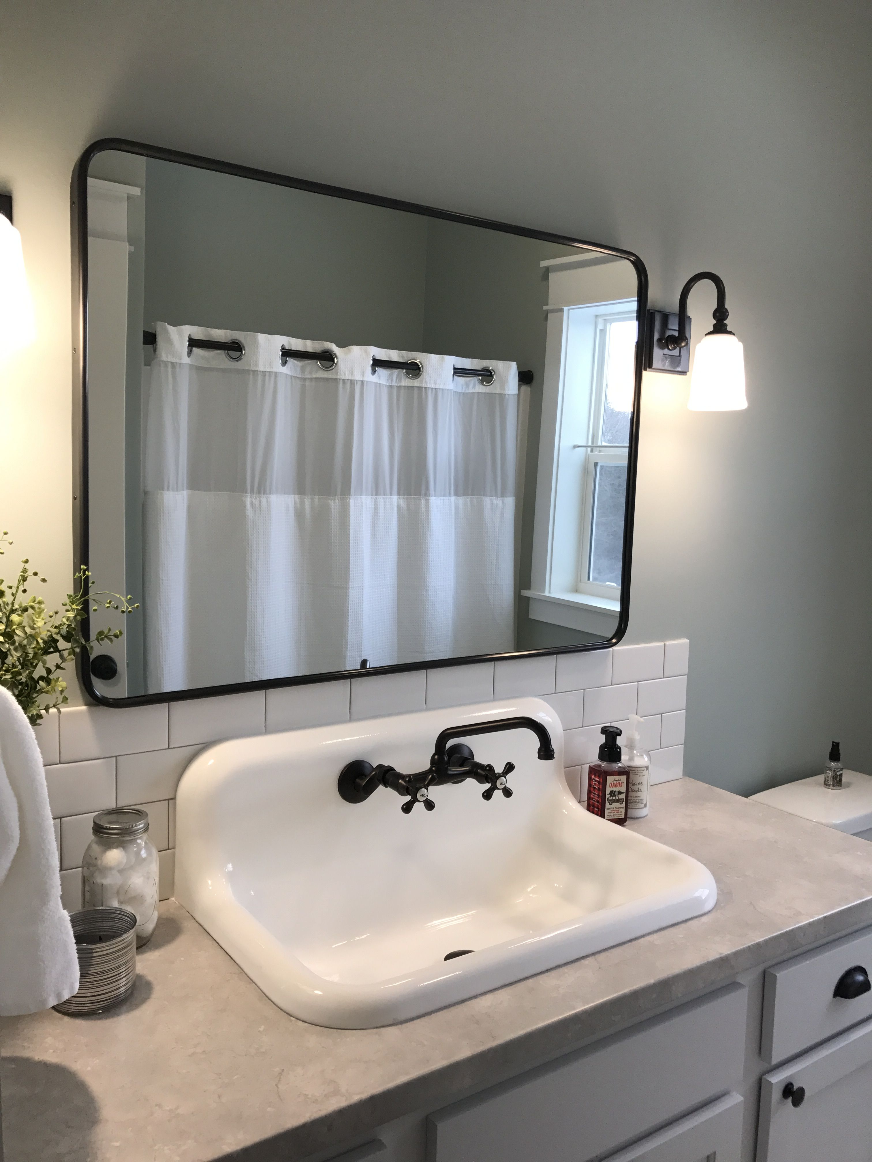 Farmhouse Bathroom With High Back Cast Iron Sink With Images Farmhouse Bathroom Sink Vintage Bathroom Sinks Bathroom Remodel Cost