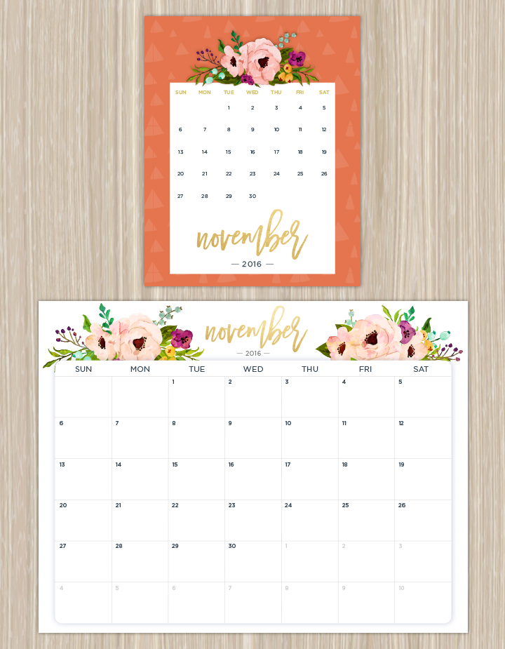 Printable Calendars For A More Floral   Printable Calendars
