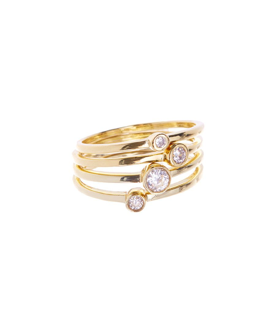 Look at this Cubic Zirconia & Gold Saturn Stackable Ring Set on #zulily today!