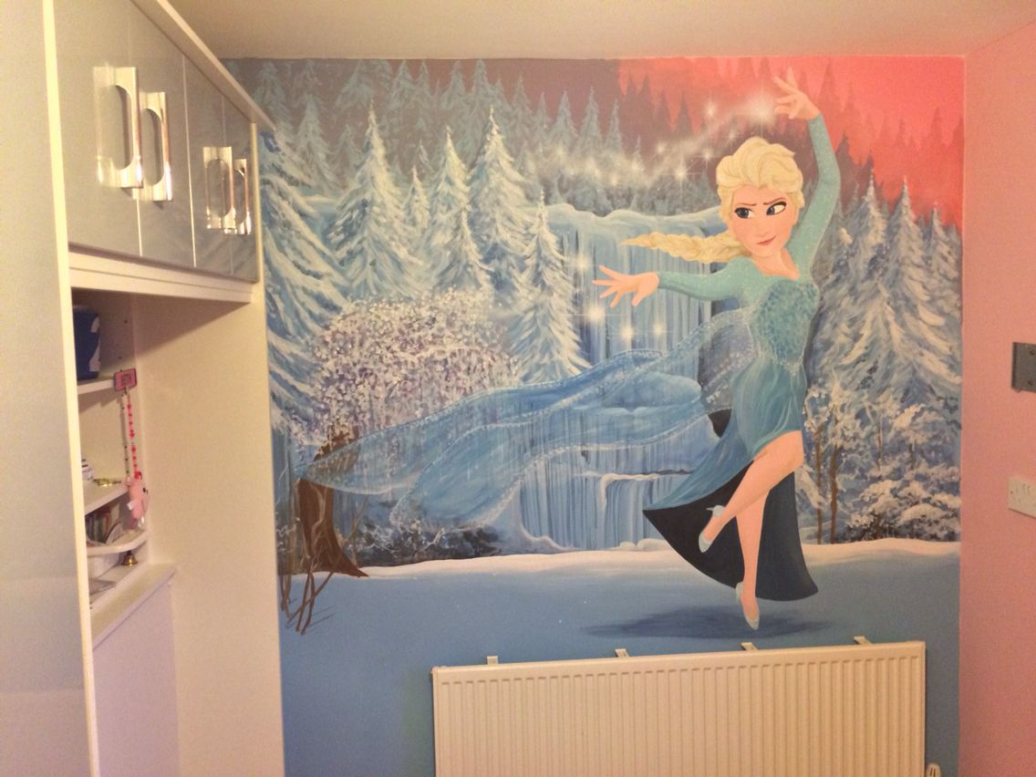 Frozen Elsa painted wall mural Kids Wall Murals Pinterest Wall