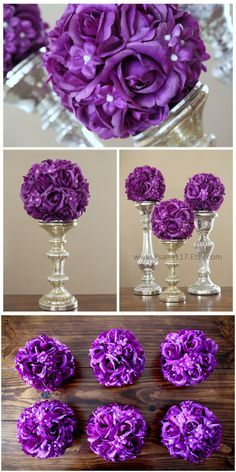 6 Inch Wide Rose And Pearl Wedding Pomander Balls Plum Purple Color Decoration