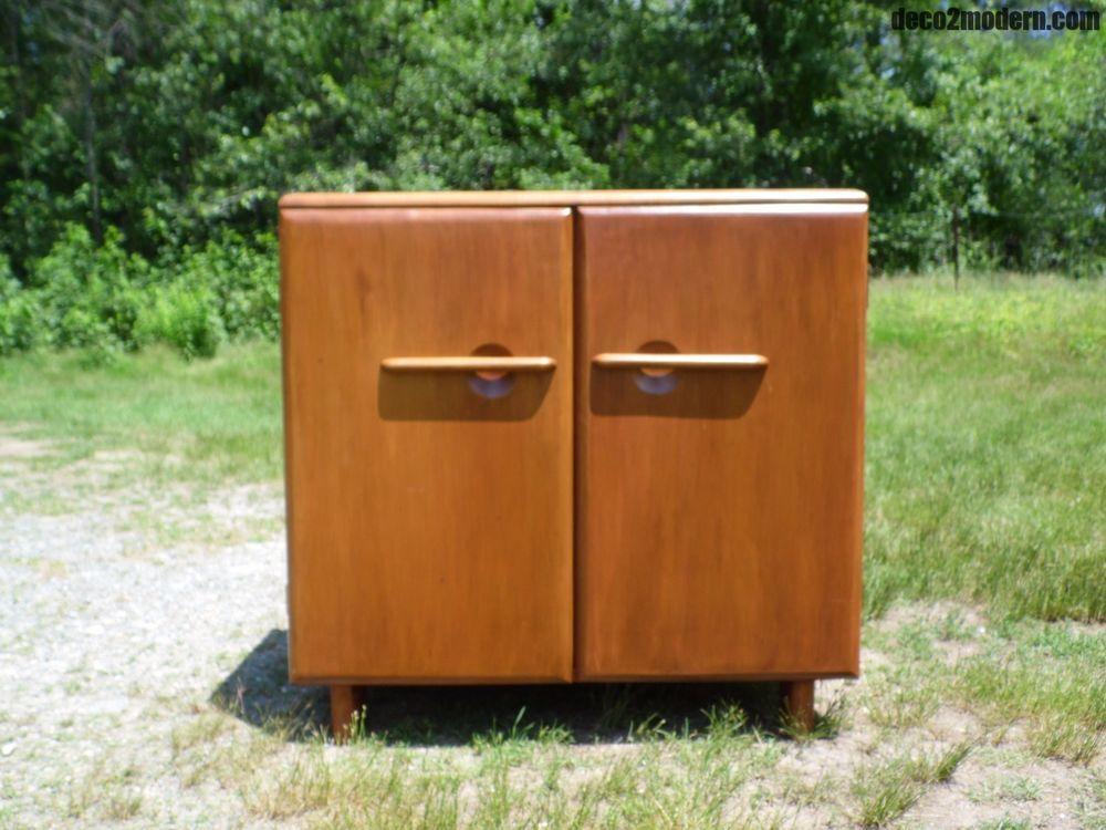 Vintage Mid Century Modern Temple Stuart Tesco Solid Maple Cabinet