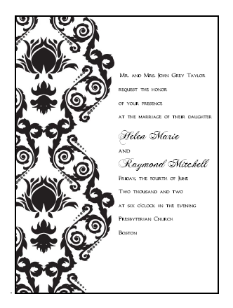 printable damask wedding invitation templates print and make your