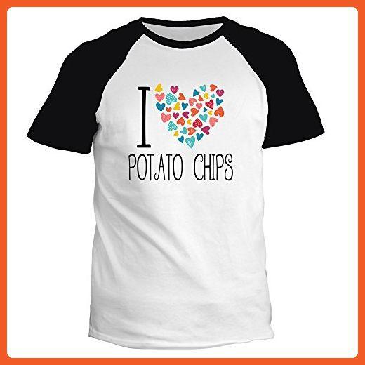 Idakoos - I love Potato chips colorful hearts - Food - Raglan T-Shirt - Food and drink shirts (*Partner-Link)