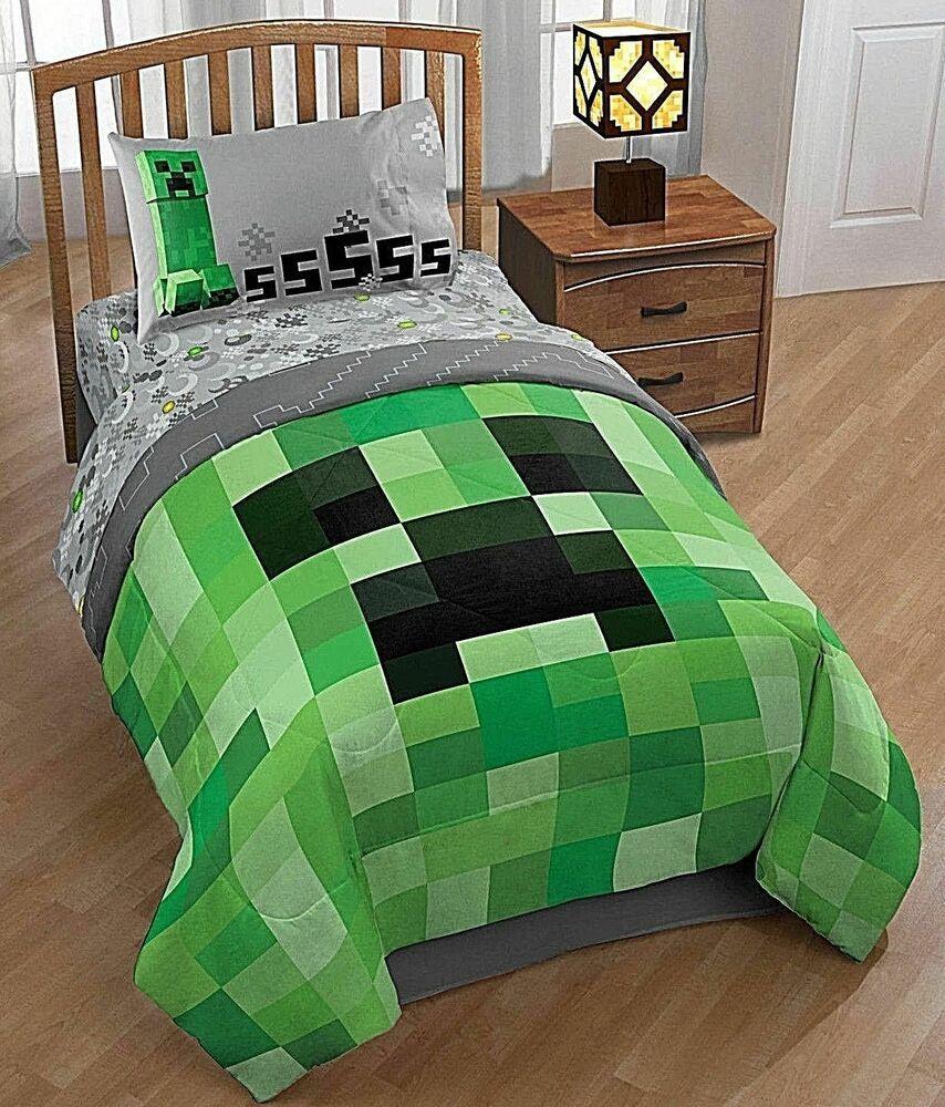 Minecraft Bed Set Twin Kids 5 Piece Comforter Sheets Pillowcase