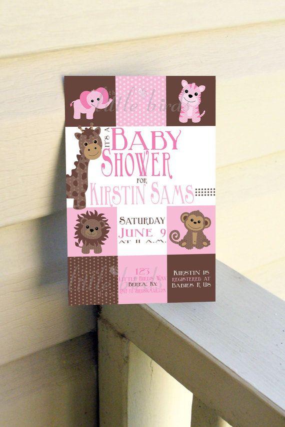 Pink Safari animal baby shower invitation | Theme :: Safari ...