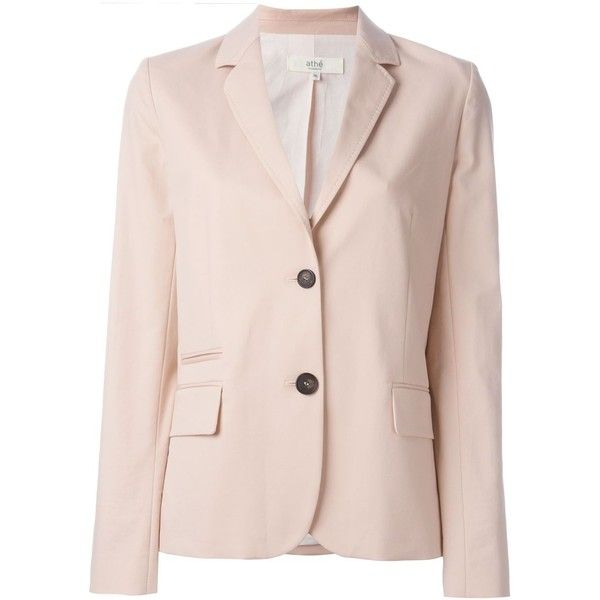 Vanessa Bruno Athé Classic Blazer featuring polyvore, women's fashion, clothing, outerwear, jackets, blazers, pink jacket, pink blazer jacket, pastel pink blazer, pastel jacket and pink blazer