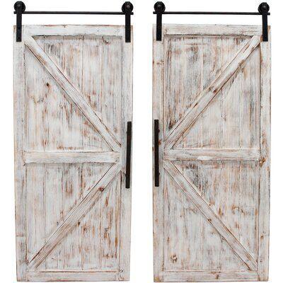 Gracie Oaks Barn Wall Decor Finish Rustic Whitewash In 2020 Wooden Wall Plaques Rustic Doors Barn Door Decor