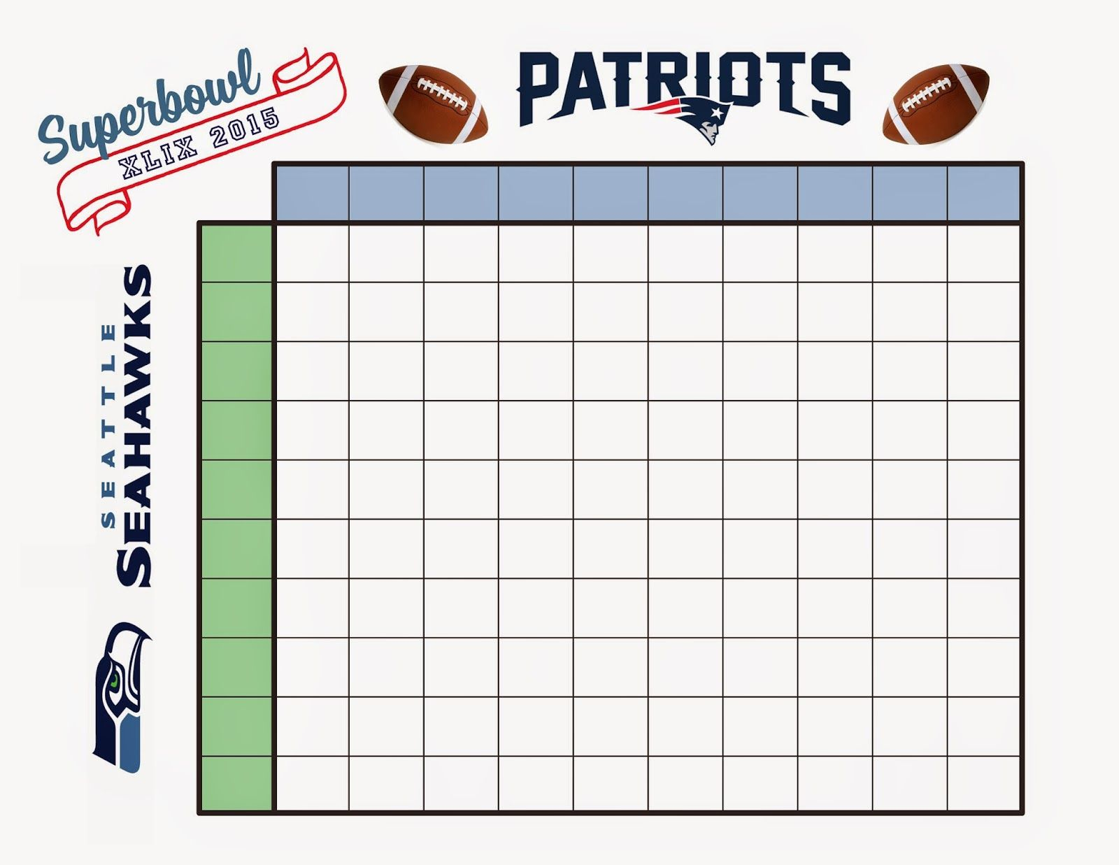 Free Download Otball Squares Pool For Superbowl Sunday