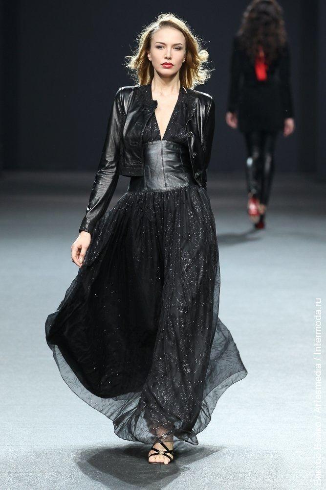 a82de0ad1af9 Вечернее платье в стиле рок из шифона и кожи   badass dress ...
