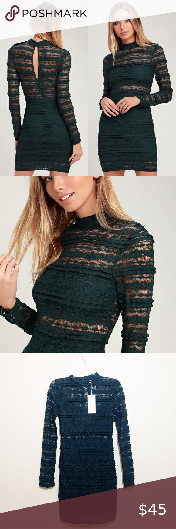 Lulus Return Label : lulus, return, label, LuLus, Reece, Forest, Green, Sleeve, Bodycon, Bodycon,, Lace,, Dress