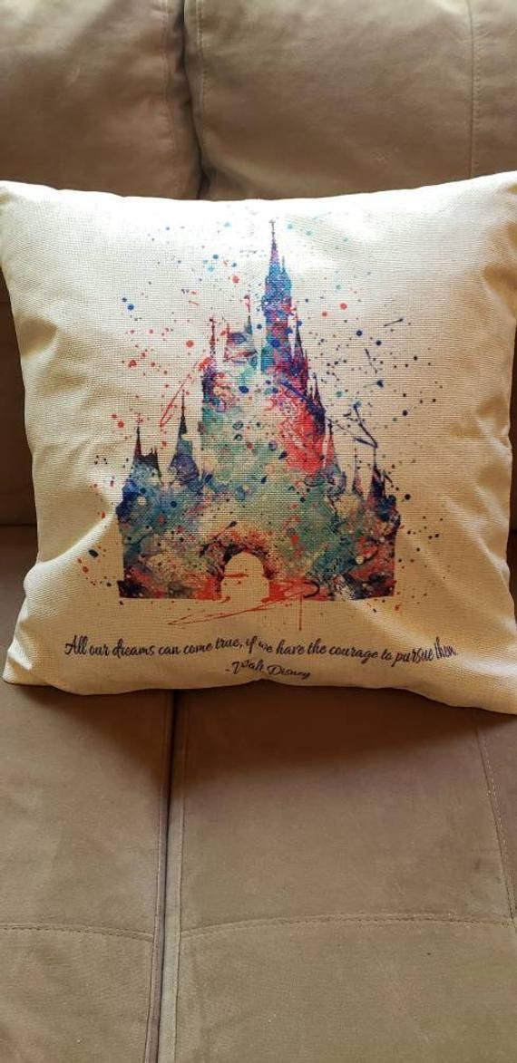 Disney inspired Castle watercolor print decorative pillow with inspirational quote by Walt Disney