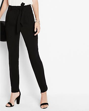 9d68f394581 petite high waisted sash waist straight leg ankle pant