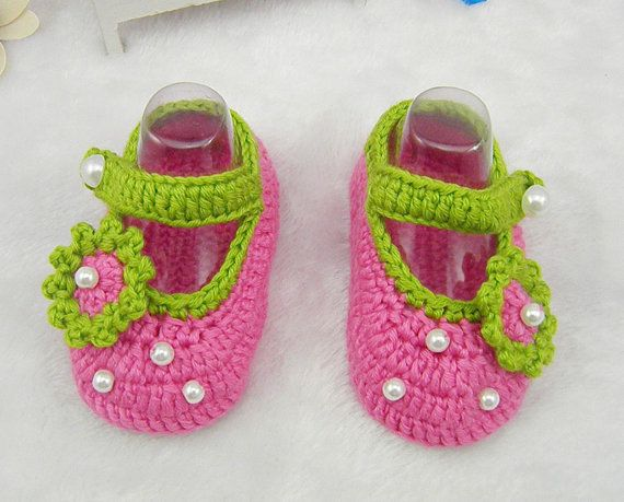 3c5bf58a853aa New Style Deep Pink Crocheted Newborn Baby Princess Shoes, Infant Baby Soft  Soled Crochet Flower Shoes, Toddler Baby Girls Shoes via Etsy
