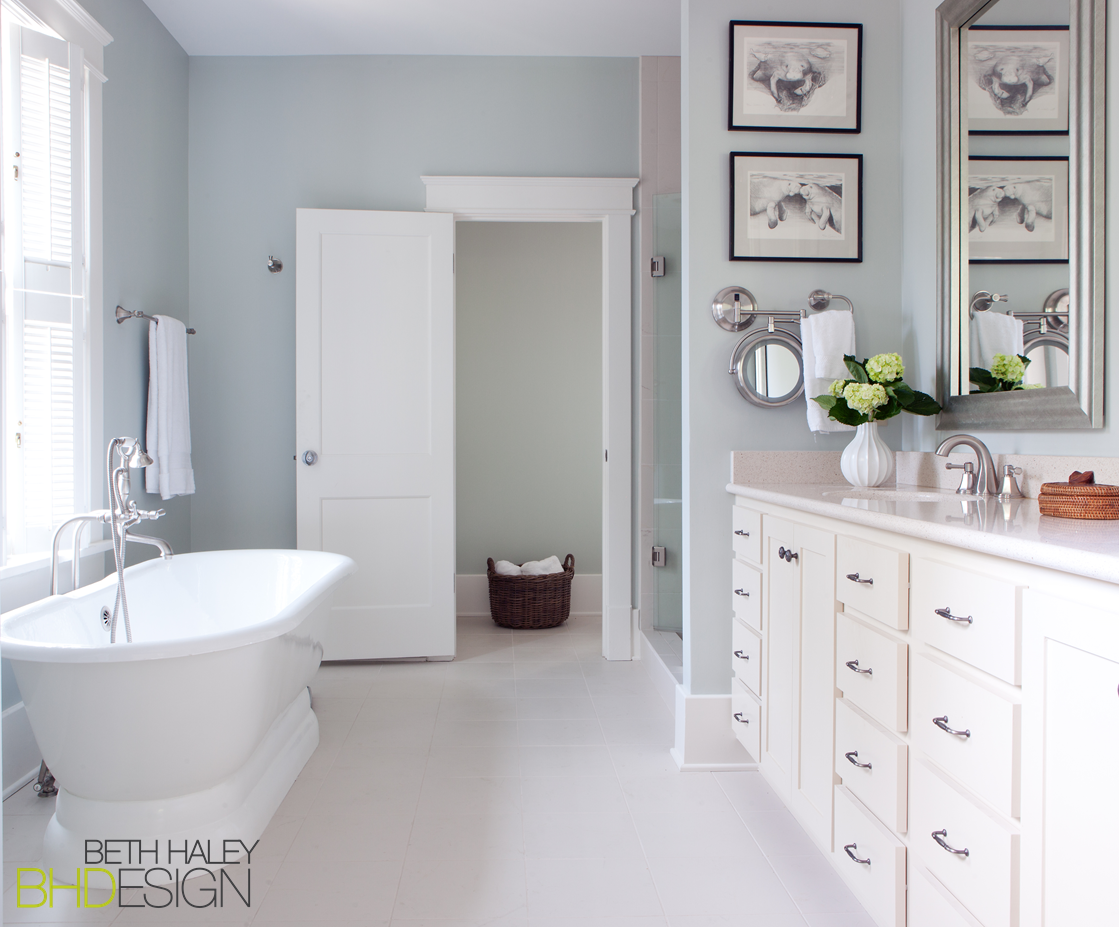 White Bathroom with Soft Blue Walls