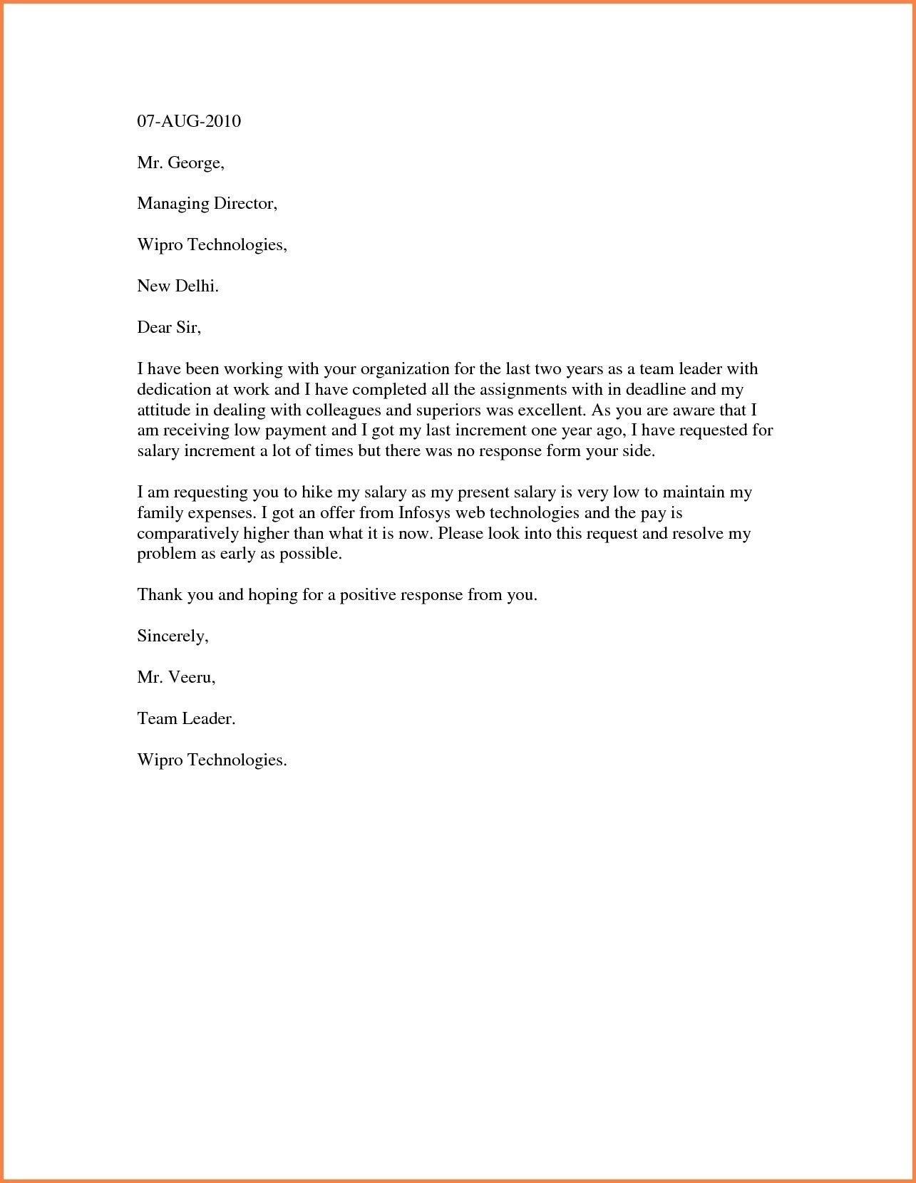 Sample Increment Letter format Fresh Salary Increment Request