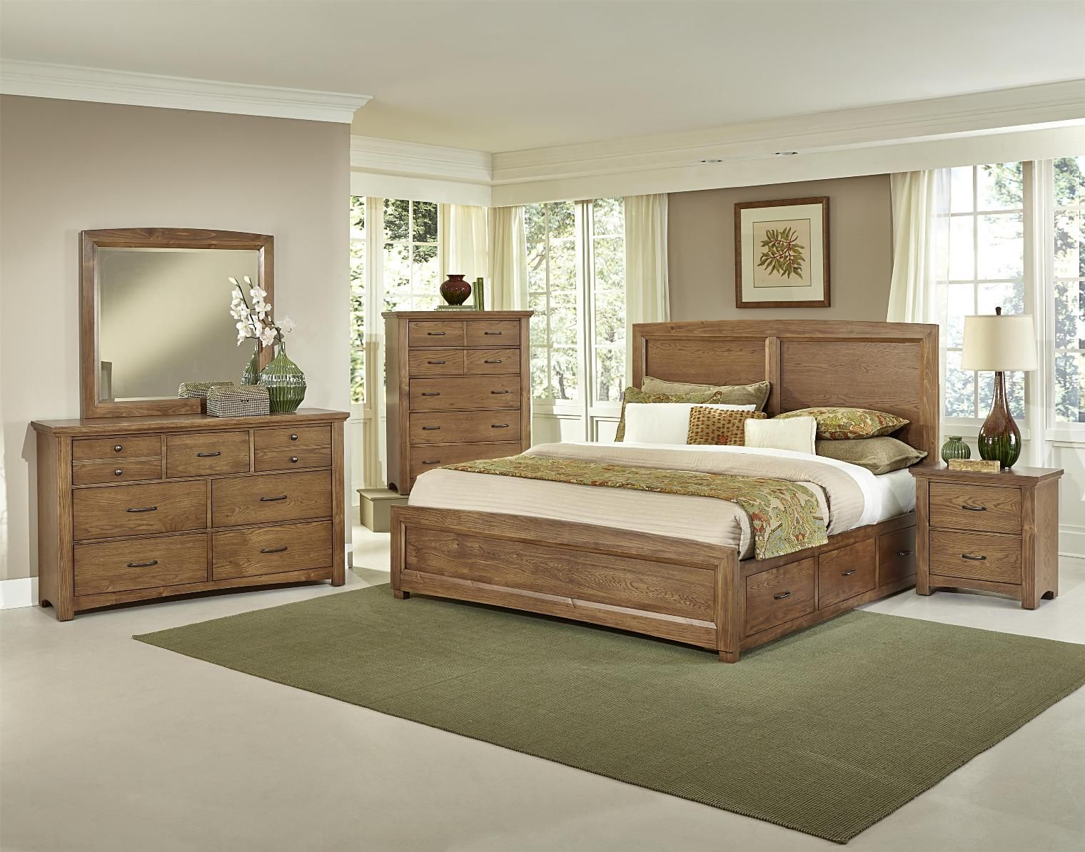 Vaughan-Basset Transitions 4 Piece Panel Bedroom Set with 2 Side Storage in Dark Oak