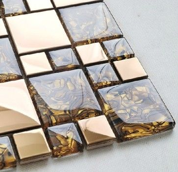 Stainless steel tile backsplash kitchen glass tiles glass mosaic