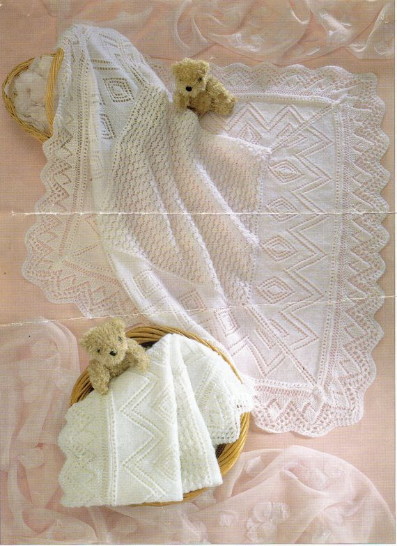 Baby shawl knitting pattern square shawl lacy shawl 3 ply / 4 ply 36 ...