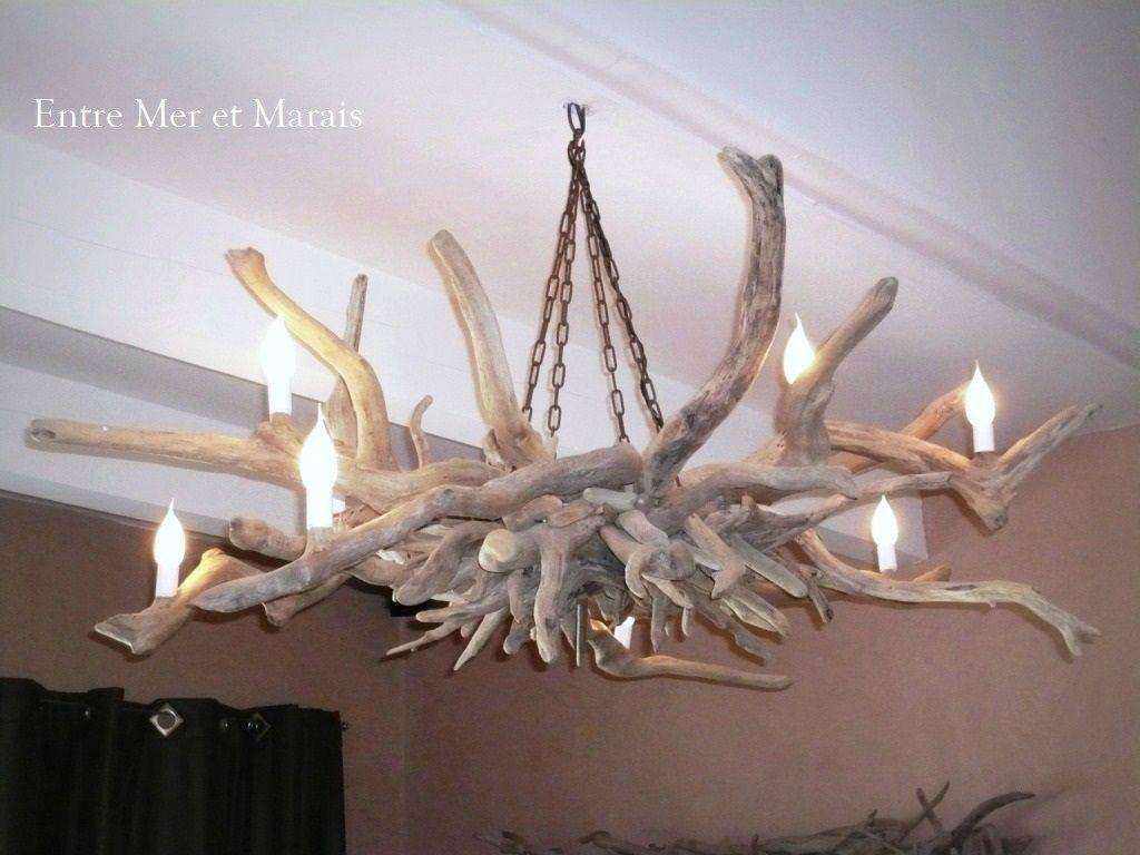Lustre bois flott 3 deco pinterest lustre bois - Luminaire suspension bois ...