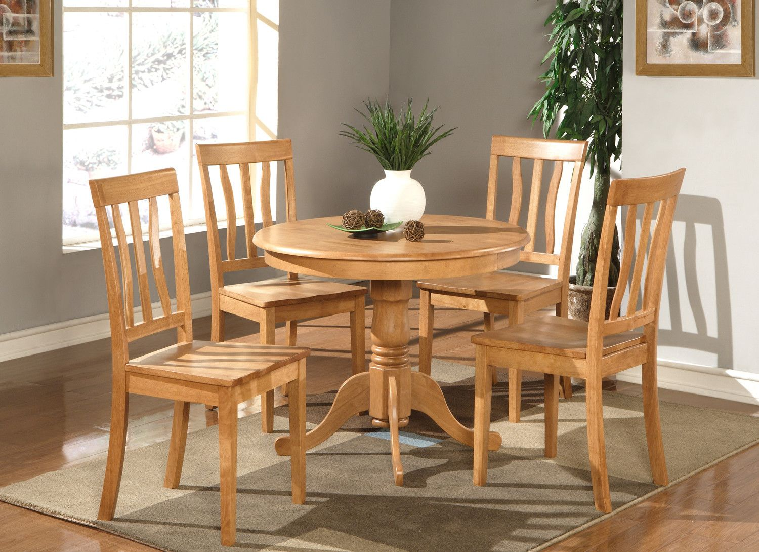 Woim Antique 3 Piece Dining Set Round Kitchen Table Kitchen Table Settings Round Wood Kitchen Table