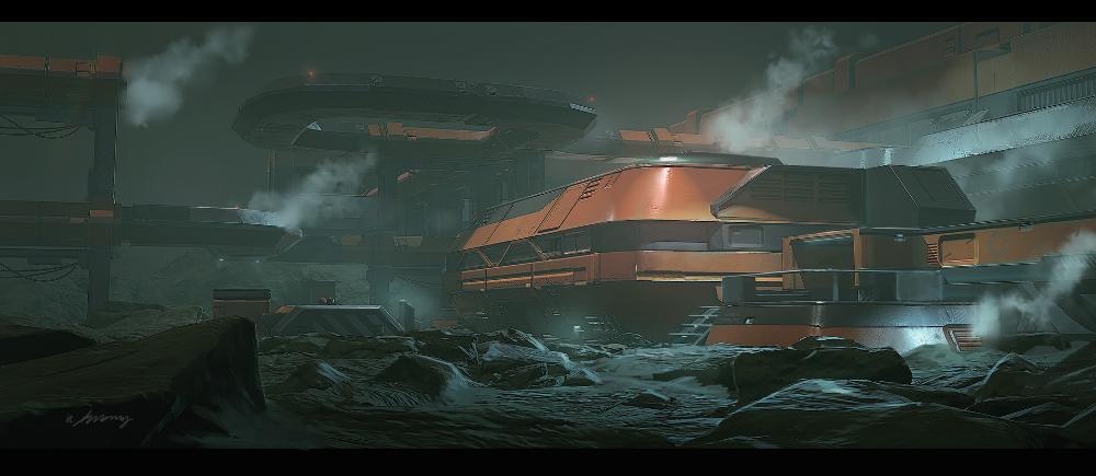 Artstation Industrial Sci Fi Exterior Concept Krzysztof Luzny
