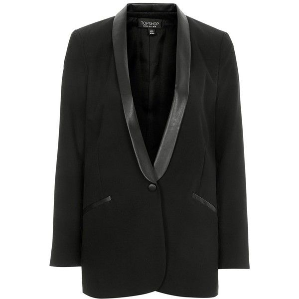 0fc683d9c2 Women's Topshop Faux Leather Lapel Blazer ($120) ❤ liked on Polyvore  featuring outerwear, jackets, blazers, fake leather jacket, tuxedo blazer,  ...