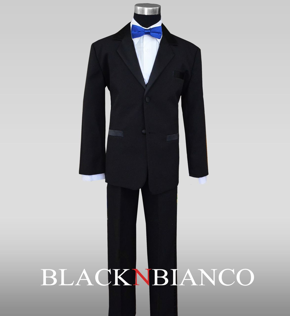 Boys Tuxedo with Royal Blue Slim Bow Tie