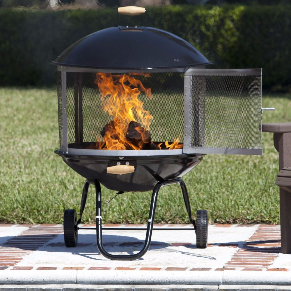 Portable fire pit outdoor wheeled firepit wood fireplace heater