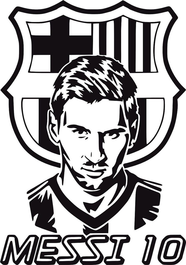 messi 10 fcb football badge crest barcelona etsy in 2020 messi drawing messi black and white stickers pinterest