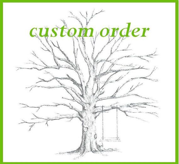 Small Fingerprint Live Oak Tree Wedding Guest Book Hand Drawn: Custom Medium Tree (Pecan