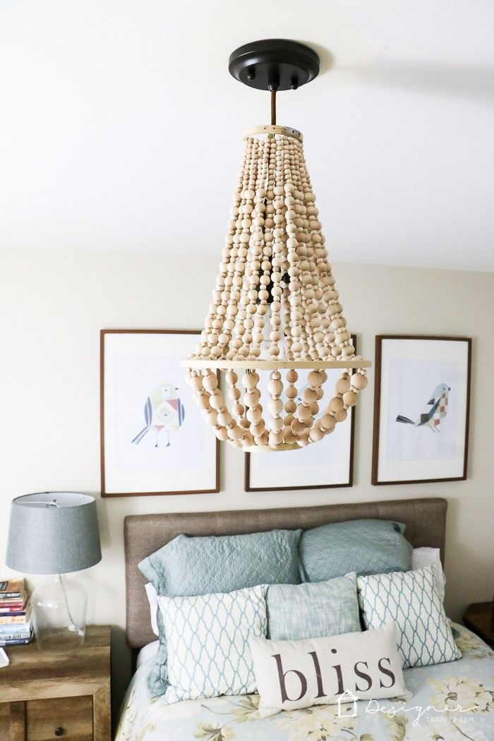 GORGEOUS wood bead chandelier by Designer Trapped