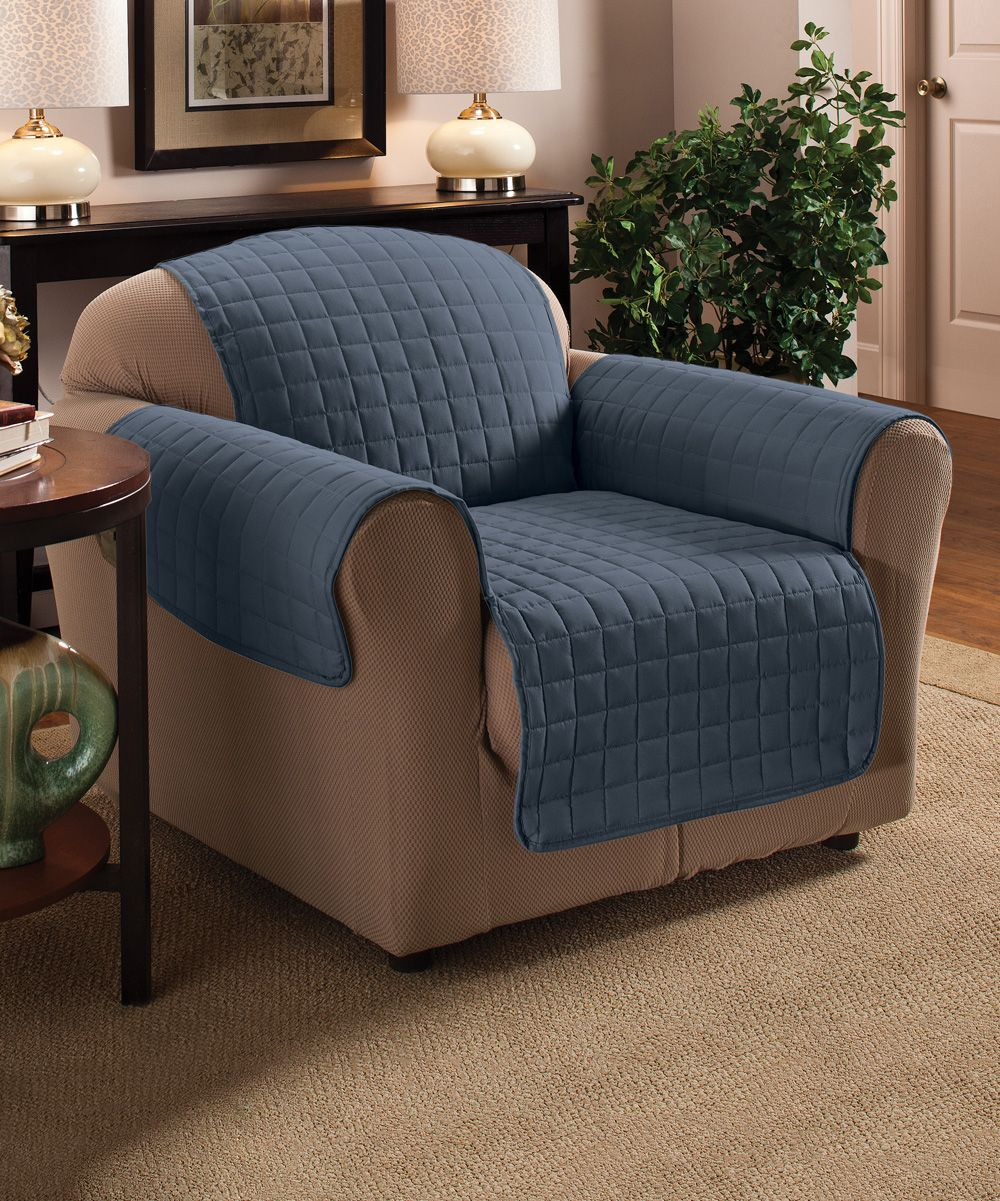 Best Slate Blue Microfiber Armchair Protector Furniture 400 x 300