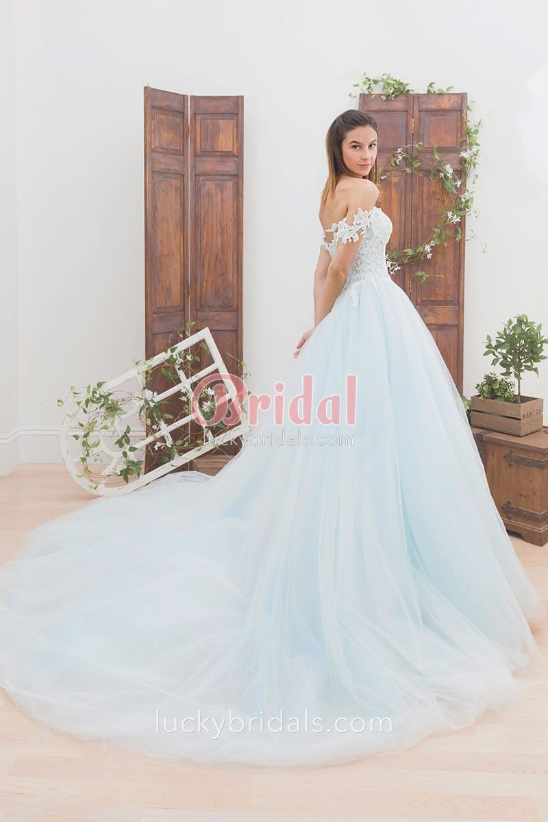 Light blue lace and tulle offtheshoulder ball gown unique wedding