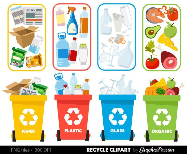 Recycle Clipart Recycle Graphics Recycle Bin Recycling Guide Etsy Recycling Sorting Recycle Preschool Recycling