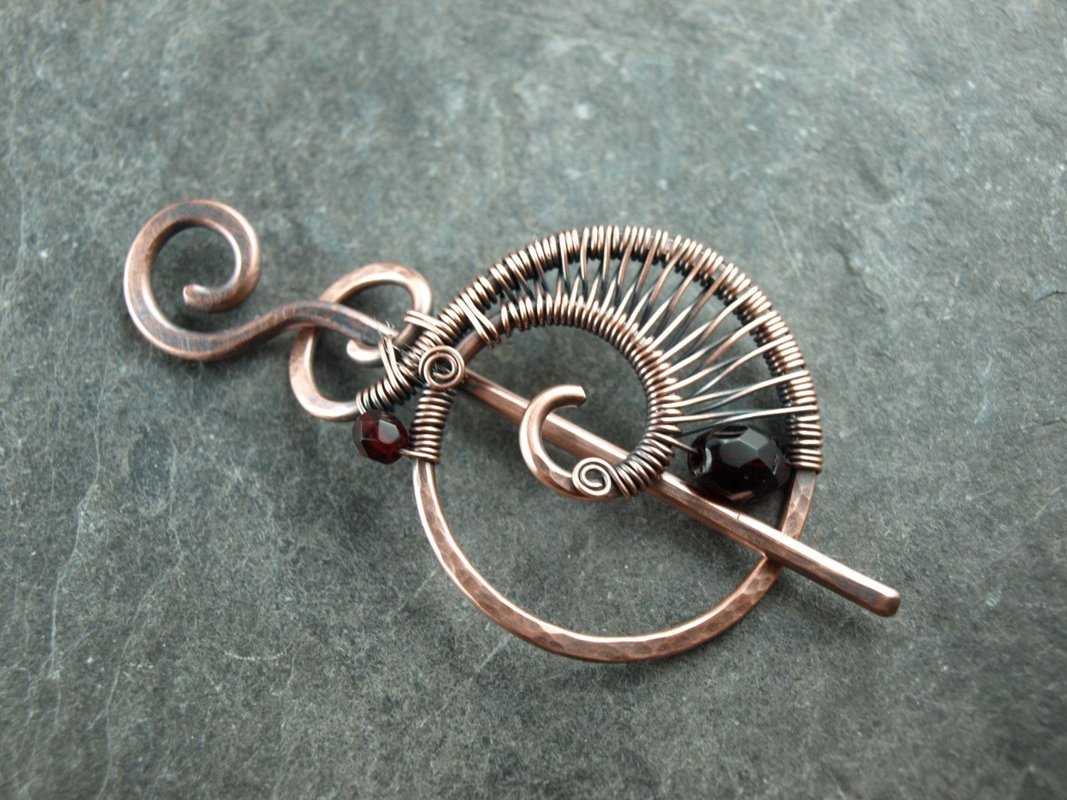 Hair clip, wire work, copper, primer, shawl pin | Vintage America by ...