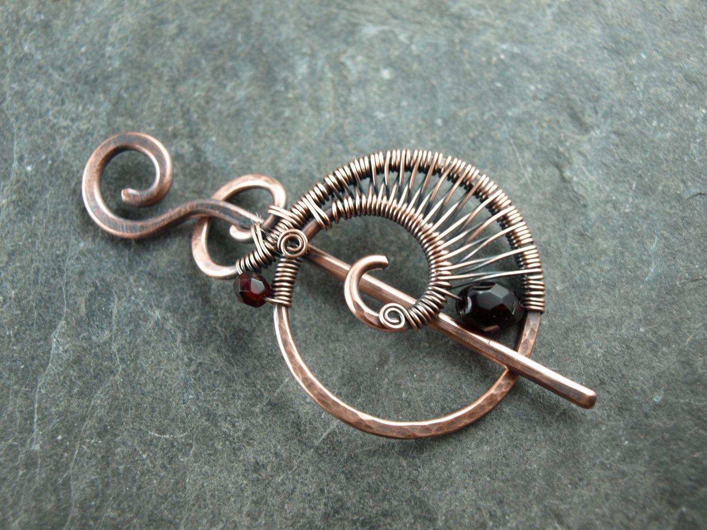 Haarspange,wire work,Kupfer,Fibel,Schalnadel von KlimmBimm auf Etsy ...